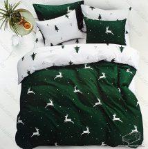 6 részes pamut ágynemű garnitúra, Karácsonyi ágyneműhuzat szett, Zöld szarvas