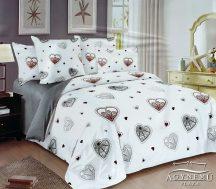 Ágyneműhuzat szett, 7 részes pamut ágynemű garnitúra, lila karikás ágynemű