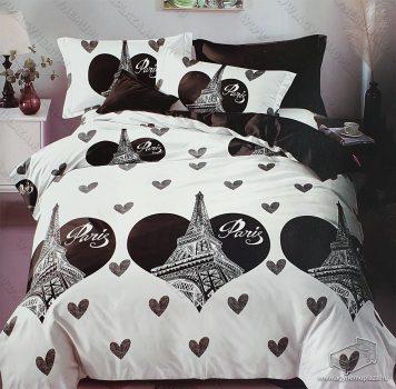 7 részes pamut ágynemű garnitúra, Párizs ágyneműhuzat garnitúra, Fekete szív