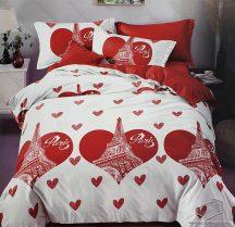 7 részes pamut ágynemű garnitúra, Párizs ágyneműhuzat garnitúra, Piros szív