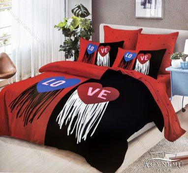 7 részes pamut ágynemű garnitúra, Mr. & Mrs. ágyneműhuzat szett, piros és fekete Love