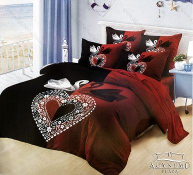 7 részes pamut ágynemű garnitúra, Mr. & Mrs. ágyneműhuzat szett, piros és fekete Hattyú