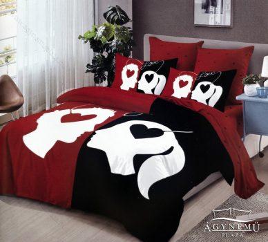 7 részes pamut ágynemű garnitúra, Mr. & Mrs. ágyneműhuzat szett, piros és fekete Szerelmes pár