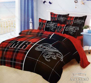 7 részes pamut ágynemű garnitúra, Mr. & Mrs. ágyneműhuzat szett, piros és fekete Mr. & Mrs.