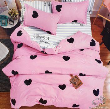 7 részes pamut ágynemű garnitúra, ágyneműhuzat garnitúra, Rózsaszín Szív