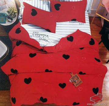 7 részes pamut ágynemű garnitúra, ágyneműhuzat garnitúra, Piros Szív