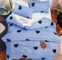 7 részes pamut ágynemű garnitúra, ágyneműhuzat garnitúra, Kék Szív