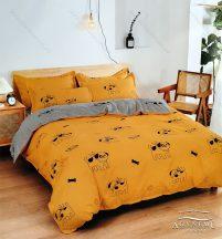 Ágyneműhuzat garnitúra, 7 részes pamut ágynemű garnitúra, Sárga kutyás ágynemű