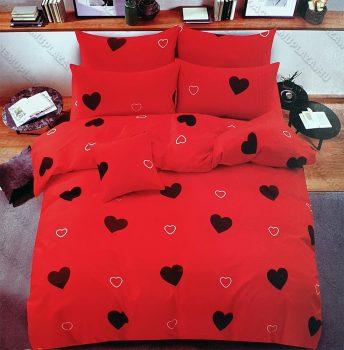 7 részes pamut ágynemű garnitúra, szíves ágyneműhuzat garnitúra, Piros Szív