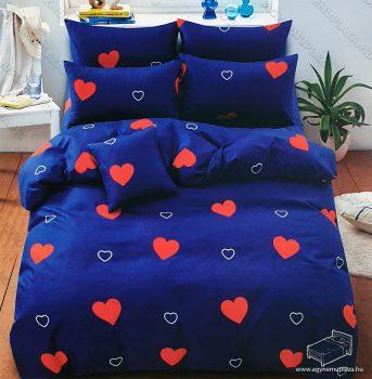 7 részes pamut ágynemű garnitúra, szíves ágyneműhuzat garnitúra, Kék Szív