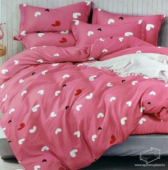 7 részes pamut ágynemű garnitúra, szíves ágyneműhuzat garnitúra, Pink Szív