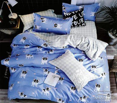 Ágyneműhuzat garnitúra, 7 részes pamut ágynemű garnitúra, Kék Bulldog ágynemű