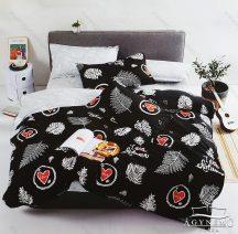 Ágyneműhuzat garnitúra, 7 részes pamut ágynemű garnitúra, fekete pálmalevél ágynemű